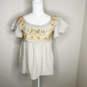 Altar'd State Embroidered Peasant Blouse Size S